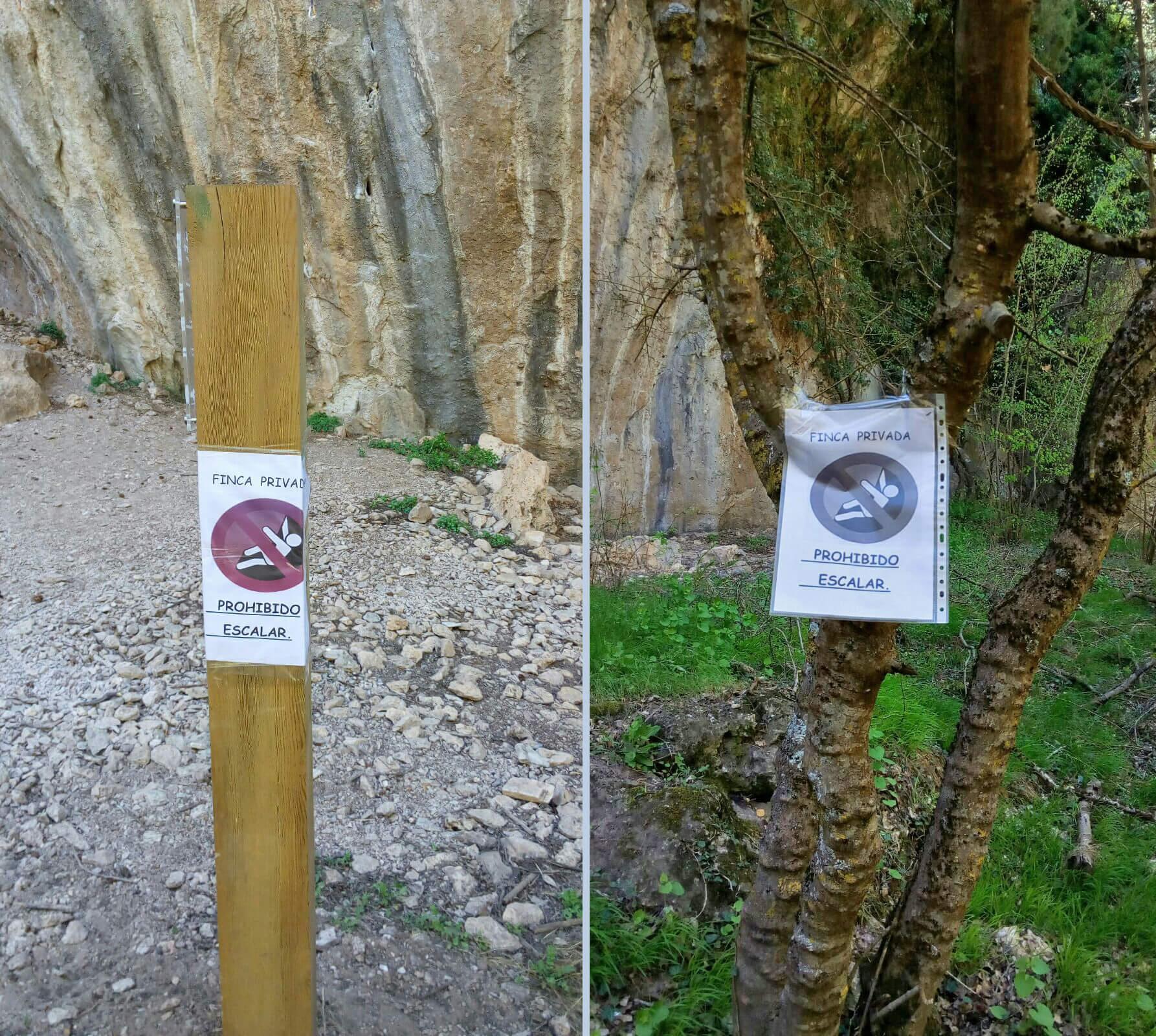 Carteles de prohibición en Valdecabras Norte (Cuenca).