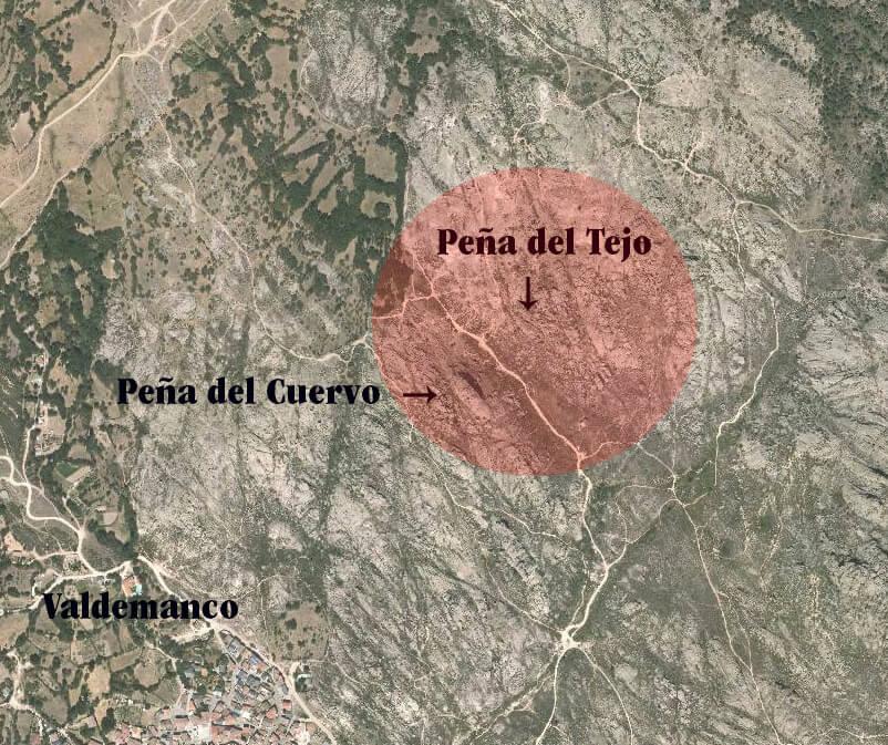 Área regulada en Valdemanco. No escalar ni hacer búlder en el espacio señalado en rojo.